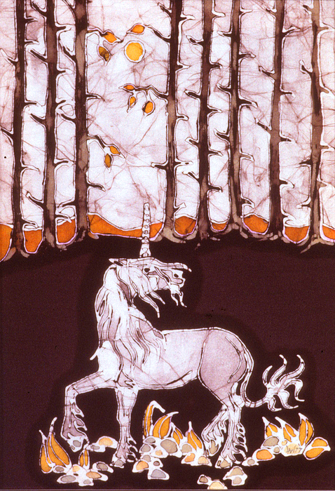 Unicorn Below Trees In Autumn Tapestry - Textile