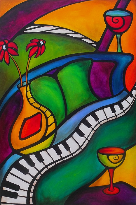 Grande Piano Painting - Unlocking The Evening by Darlene Keeffe