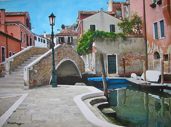 Venice Piazzetta And Bridge Mixed Media