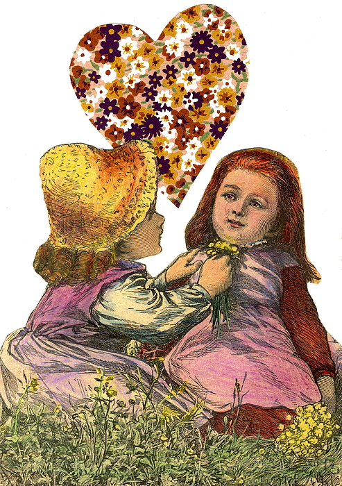 Victorian Girls Mixed Media - Victorian Girls Buttercup Game by Marcia Masino