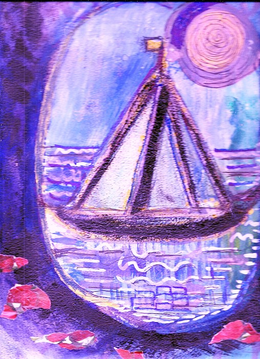 View Of Sailboat From A Cavern In The Sea  Mixed Media - View From A Cavern In The Sea by Anne-Elizabeth Whiteway