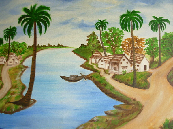 View From Indian Village Painting By Riya Rathore
