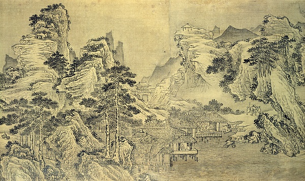 View Painting - View From The Keyin Pavilion On Paradise - Baojie Mountain by Wang Wen