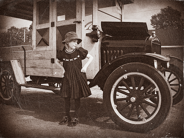 Vintage Car And Old Fashioned Girl Photograph