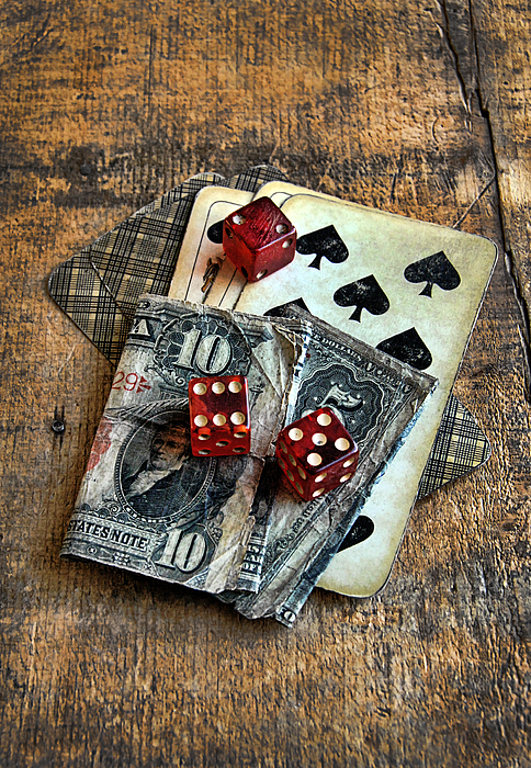 Vintage Cards Dice And Cash Photograph