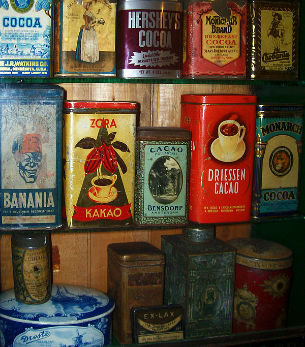 Vintage Container Photograph - Vintage Cocoa Containers by Turtle Caps