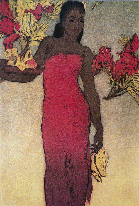Archival Painting - Vintage Hawaiian Woman by Hawaiiam Legacy Archives - Printscapes