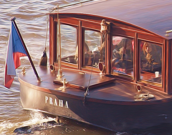River Boat Painting - Vltava River Boat by Shawn Wallwork