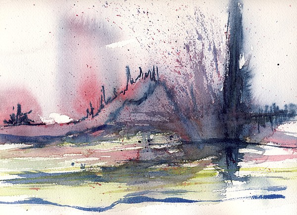 Abstractions - Watercolour Painting Painting - Volcano by Susan Mott