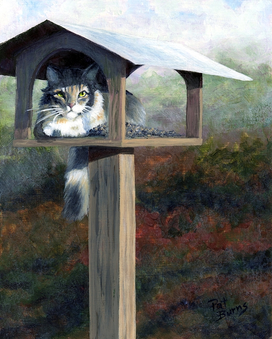 Cat Painting - Waiting For Dinner by Pat Burns