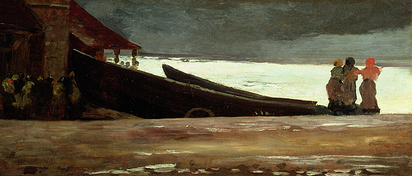 Boat Painting - Watching A Storm On The English Coast by Winslow Homer