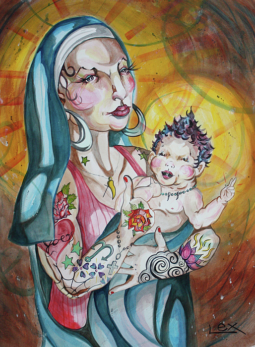 Mary Painting - We Can Do It  Inked Mary And Jesus by LEX Covato