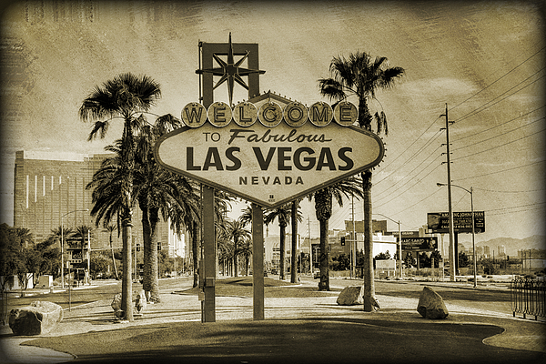 Welcome To Las Vegas Series Sepia Grunge Photograph