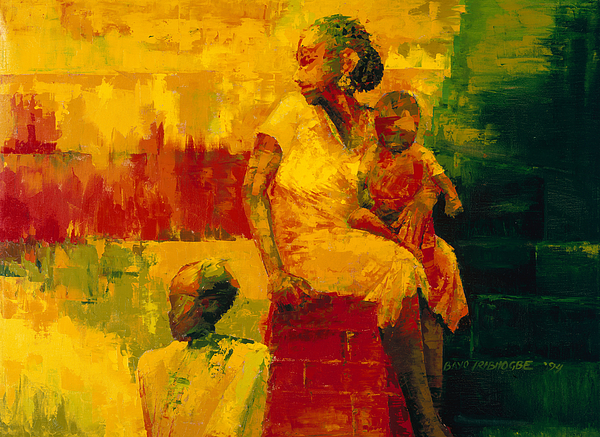 What Is It Ma? 1994 (oil On Board) By Bayo Iribhogbe (contemporary Artist) Painting - What Is It Ma by Bayo Iribhogbe