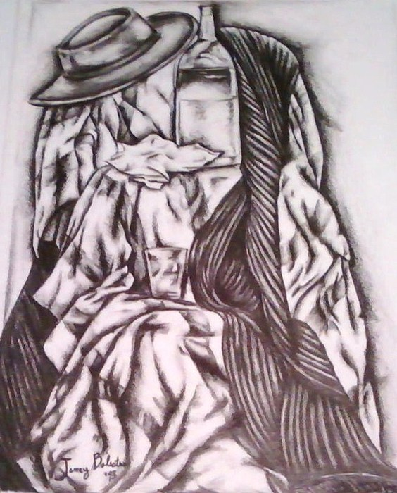 Black N White Still Life Drawing - Where It May Fall by Jamey Balester