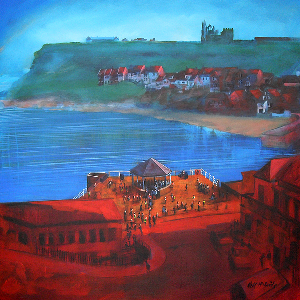 Beach Painting - Whitby Bandstand And Smokehouses by Neil McBride