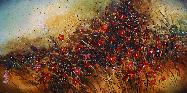 Red Flowers Painting - Wild by Michael Lang