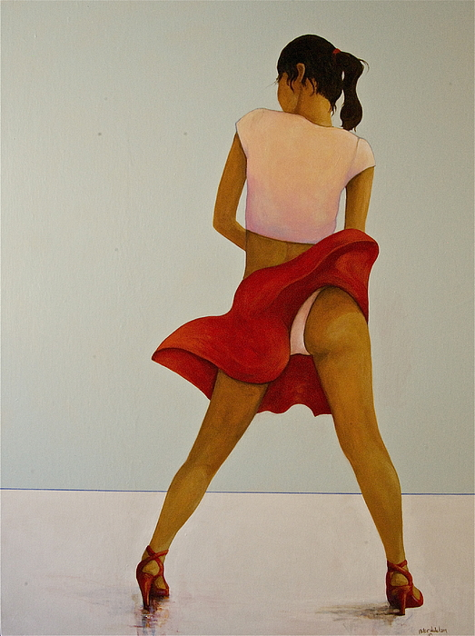 Pin Up Painting - Wind Up Her Skirt by Peter Wedel