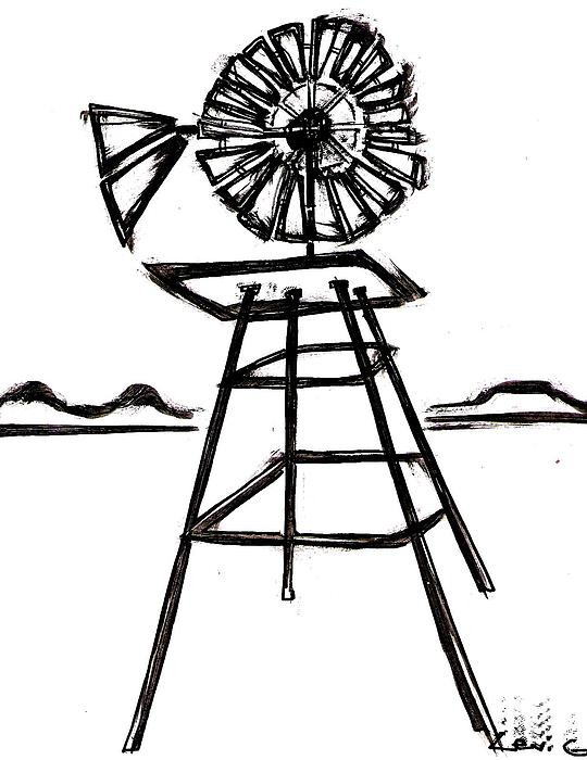Retro Windmill Sketch · GL Stock Images