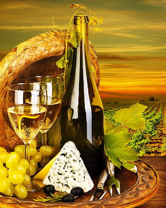 Still Life Photograph - Wine And Cheese Romantic Dinner Outdoor by Anna Omelchenko