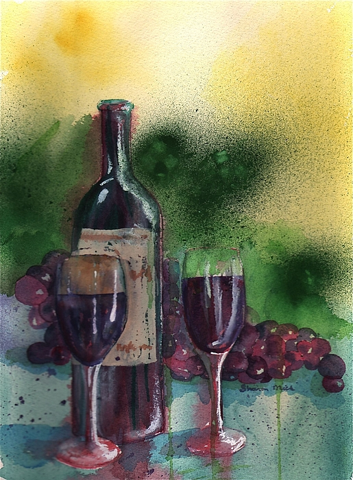 Wine Painting - Wine For Two by Sharon Mick