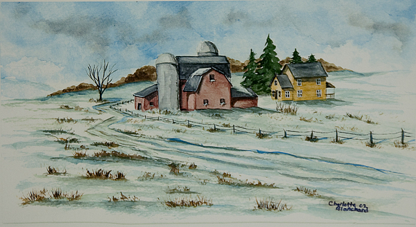 Winter Down On The Farm Painting