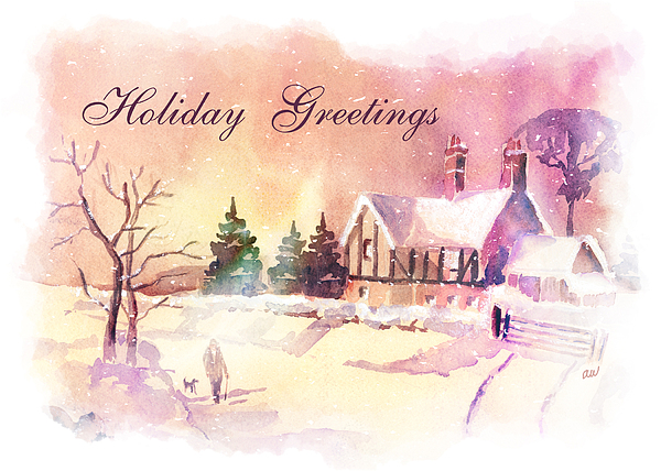 Winter Painting - Winter Stroll Card by Arline Wagner