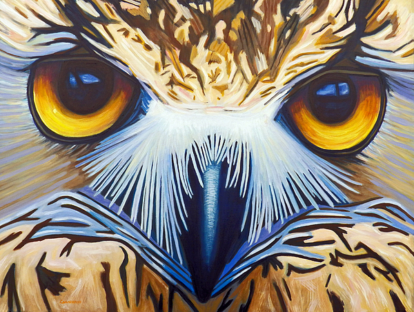 Owl Painting - Within by Brian  Commerford