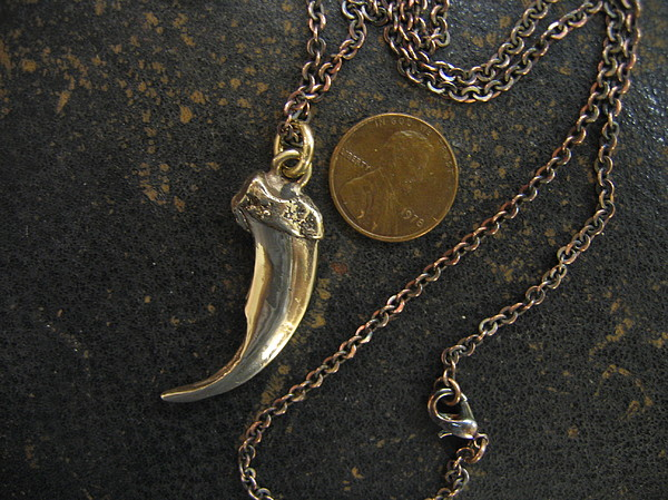 Bronze Wolf Claw Pendant Necklace Jewelry - Wolf Claw Pendant Necklace by Michael  Doyle