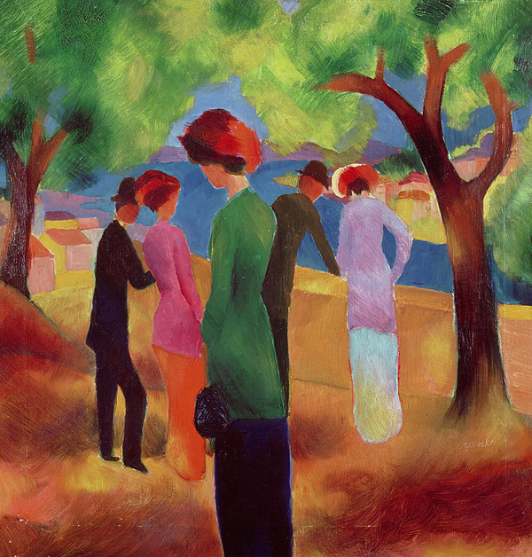 Woman Painting - Woman In A Green Jacket by August Macke