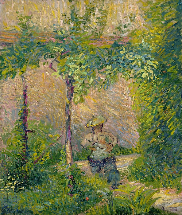 Maternal Painting - Woman In The Garden by Hippolyte Petitjean