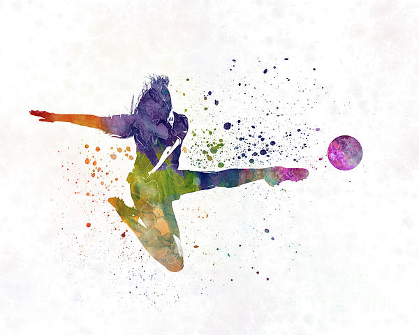 Soccer Painting - Woman Soccer Player 04 In Watercolor by Pablo Romero