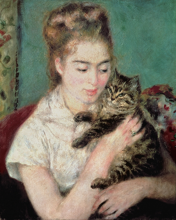 Woman With A Cat Painting - Woman With A Cat by Pierre Auguste Renoir