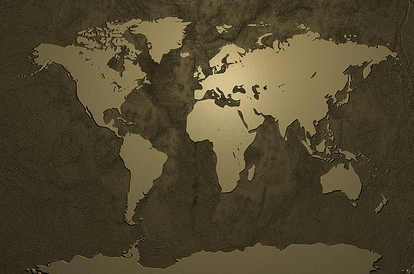World Map Gold Digital Art