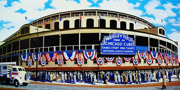 Chicago Painting - Wrigley Field by T Kolendera