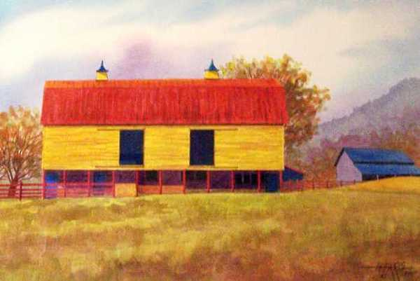 Landscape Painting - Yellow Barn by Hugh Harris