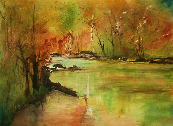 Landscape Paintings. Nature Painting - Yellow Medicine River by Julie Lueders