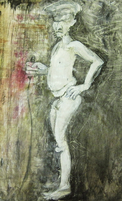 Whimsical Abstracted Matted And Framed Painting Of A Nude Male Model Wearing An Officer's Cap Painting - Yes Kaptin by Georgia Annwell