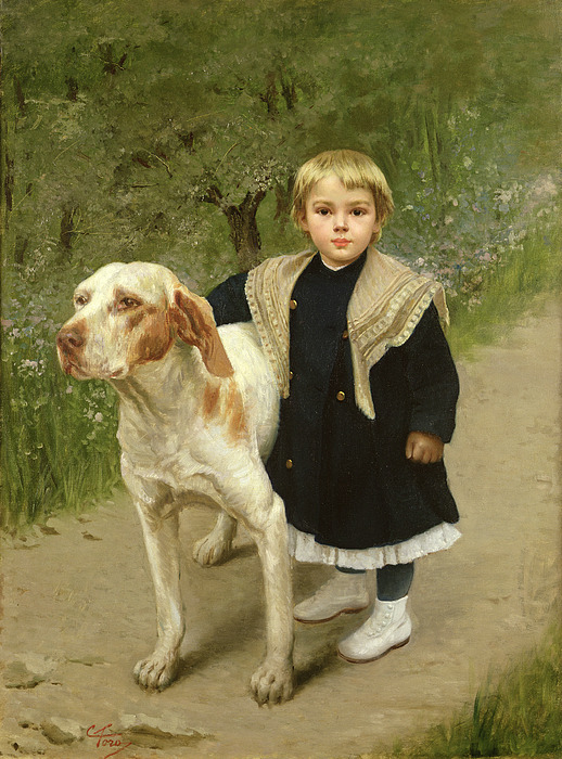 Young Child And A Big Dog Painting