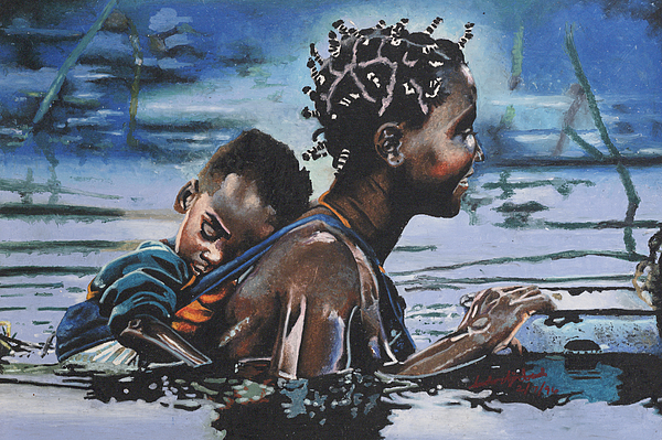 Black Art Painting - Young Mother And Child by Andre Ajibade