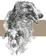 Borzoi Father And Son Fine Art Print by Barbara Keith