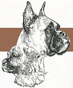 Boxer -cropped- Father And Son Fine Art Print by Barbara Keith