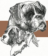Boxer -uncropped- Father And Son Fine Art Print by Barbara Keith
