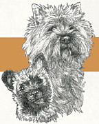Cairn Terrier Father And Son Fine Art Print by Barbara Keith
