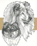 Collie -rough- Father And Son Fine Art Print by Barbara Keith