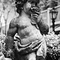 Courtyard Statue Of A Cherub French Quarter New Orleans Black And White by Shawn O'Brien