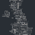 Great Britain Uk City Text Map by Michael Tompsett