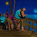 A Little Night Fishing At The Rodanthe Pier 2 by Anne Kitzman