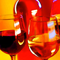 Abstract Bottle Of Wine And Glasses Of Red And White by Elaine Plesser