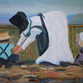 Amish Picking Peas by Francine Frank
